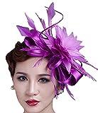 Fascinator Kentucky Derby Hat Wedding Headwear Church Cocktail Party Headdress (Purple)
