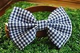 Dark Blue Gingham Checkered Pet Bow Tie