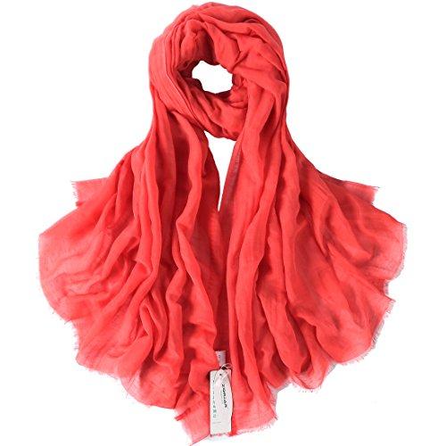 Silk Linen Dress (ZORJAR Solid Color Silk Linen Blend Long ScarfVarious Colors Available (Coral)