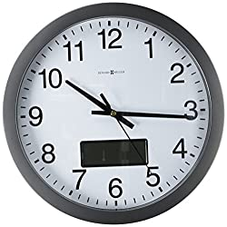 Howard Miller Optimum Chronicle Wall Clock with LCD Inset, 14, Gray (625195)
