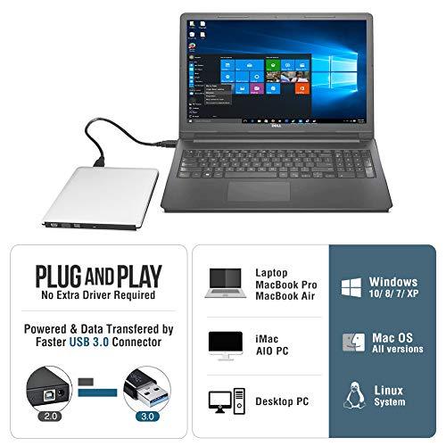 ROOFULL External DVD Drive USB 30 Slim Aluminum Portable CD DVD RW Optical Drive Burner Writer