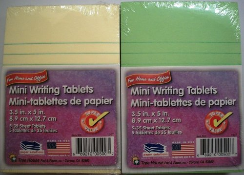 Mini Writing Tablets (5 Ct-yellow and 5 Ct-green) by Paper Solutions