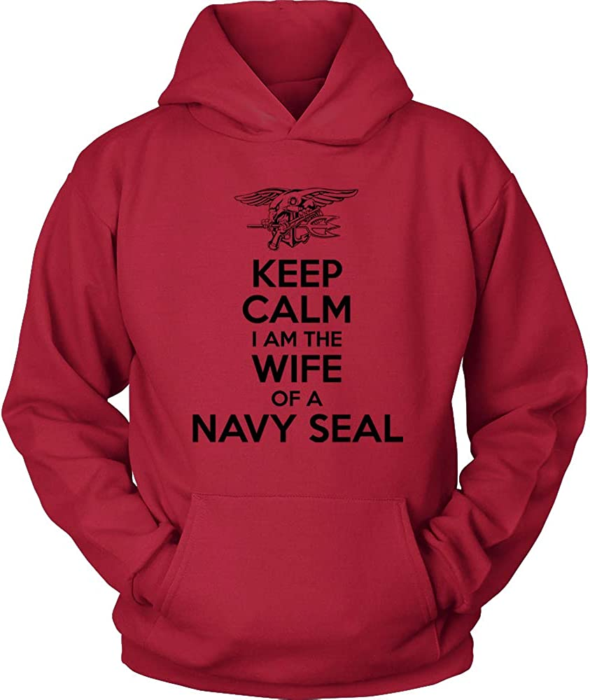 US Navy Wife Hoodie Navy Seal Husband Shirt RED Keep Calm I am The Wife of a Navy Seal US Navy Hoodie