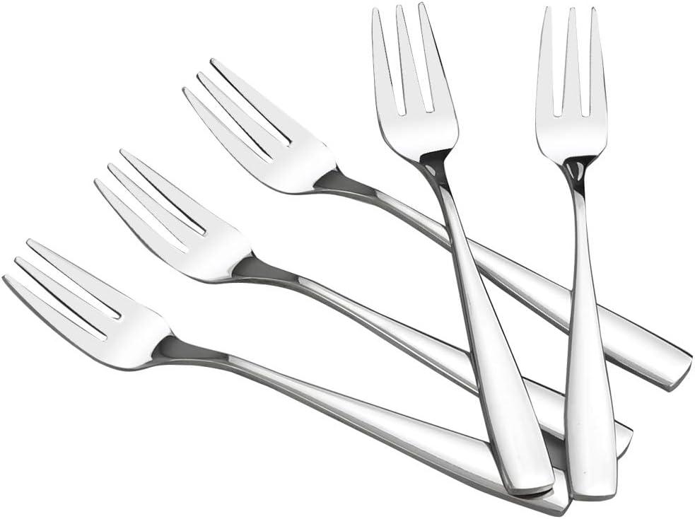 HOMMP 16 Pieces Stainless Steel 3-tine Dessert Fork, Cake Fruit Fork Set