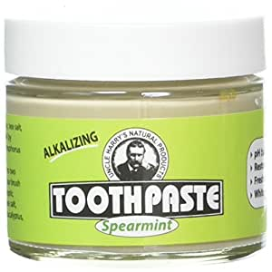 Uncle Harry's Natural & Fluoride Free Toothpaste - Spearmint (3 Oz Glass Jar)
