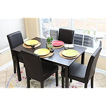 5 PC Black Leather 4 Person Table And Chairs Brown Dining Dinette   Black  Parson Chair