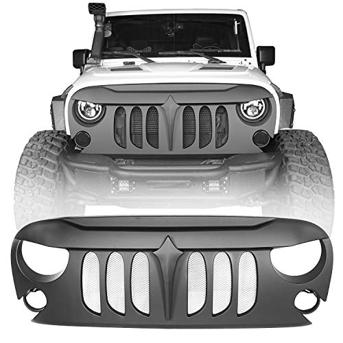 Hooke Road Jeep Wrangler Front Grill, Matte Black Demon Grille w/Mesh Slots for 2007-2018 Jeep Wrangler JK & Unlimited