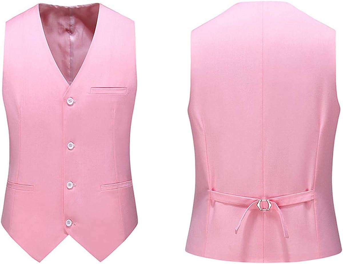 Men's Suits Slim Fit 3 Piece Suit Blazer One Button Tuxedo Business Wedding Party Jacket Vest & Pants Pink