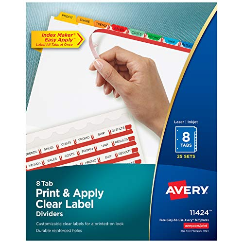 Avery 8-Tab Binder Dividers, Easy Print & Apply Clear Label Strip, Index Maker, Multicolor Tabs, 25 Sets (11424)