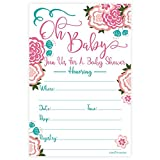Sweet Blooms Baby Shower Invitations (20 Count) with Envelopes