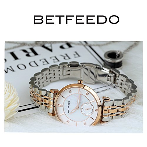 Wrist Watch for Women, Ladies Watch,Rose Gold Watch for Girls,BETFEEDO Waterproof Quartz Dress Watches (Rose Gold/Silver) by Bet Feedo (Image #1)