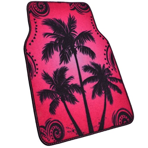 BDK Palm Tree California Carpet Floor Mats for Car SUV 4 Piece Set Licensed Prodcuts Blue Secure Backing