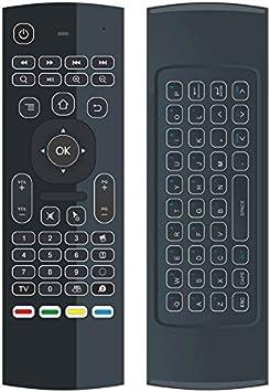YFish Mando a Distancia con Mini Teclado Universal Inalámbrico 2 en 1 Ratón Inteligente para Tele Ordenador Smart TV Box con Android Mac OS Windows Linux 2.4GHz RF-Visión Nocturna (Luz de Fondo):