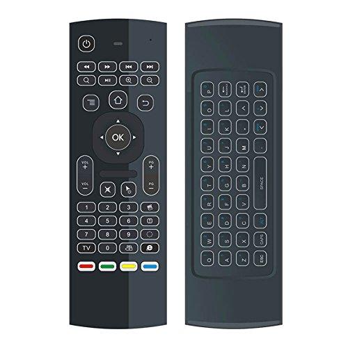 YFish Mando a Distancia con Mini Teclado Universal Inalámbrico 2 en 1 Ratón Inteligente para Tele Ordenador Smart TV Box con Android Mac OS Windows ...
