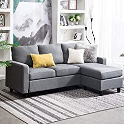 HONBAY Convertible Sectional Sofa Couch ...