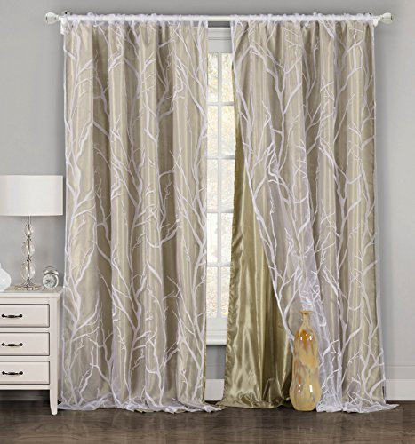 """One Piece (1) Taupe and White Window Curtain Panel: Tree Branch Design, Double Layer, 54""""W x 84""""L (Taupe)"""