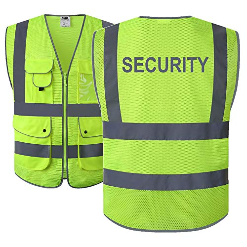 JKSafety 9 Pockets Class 2 High Visibility Zipper Front Safety Vest With Reflective Strips,HQ Breathable Mesh, Meets ANSI/ISEA Standards (Security-Yellow, X-Large)