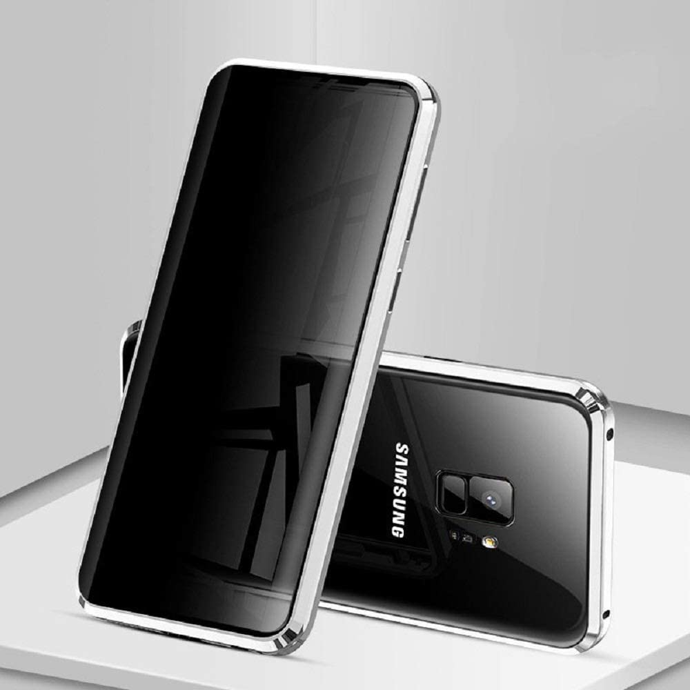 Silver HIKERCLUB Galaxy S9 Plus Privacy Screen Protector Magnetic Case Metal Glass Flip Front and Back 9H Tempered Glass Clear Touchable HD Full Body Protection Cover for Galaxy S9 Plus