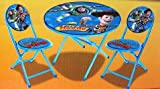 Kids Wooden Folding Table and Chairs Disney Pixar Toy Story Kid's Blue 3-Piece Folding Table and Chair Set
