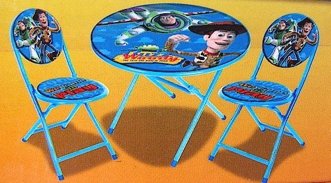 Disney Pixar Toy Story Kid's Blue 3-Piece Folding Table and Chair Set by Disney