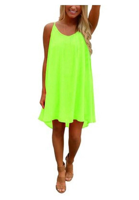 Belego Frauen Sommerkleid StrandKleid ?rmellos Chiffon Rock Minikleid Partykleid lose Neckholder Strandkleid