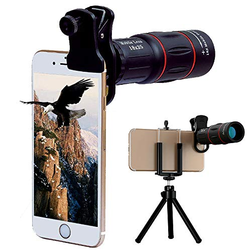 Universal 18X Monocular telescope with Eyecup Telephoto Zoom Camera Mobile Smartphone Lens with Tripod Mount for iPhone…