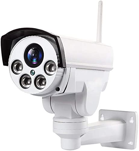 Outdoor PTZ 2.4G WiFi Security Camera Wireless Bullet Surveillance Camera HD 1080P Pan Tilt 5X Optical Zoom 165ft Night Vision One-Way Audio IP66 Weatherproof Motion Detection E-Mail White