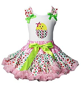 Polka Dot Easter Pettiskirt Set with Hatching Chick