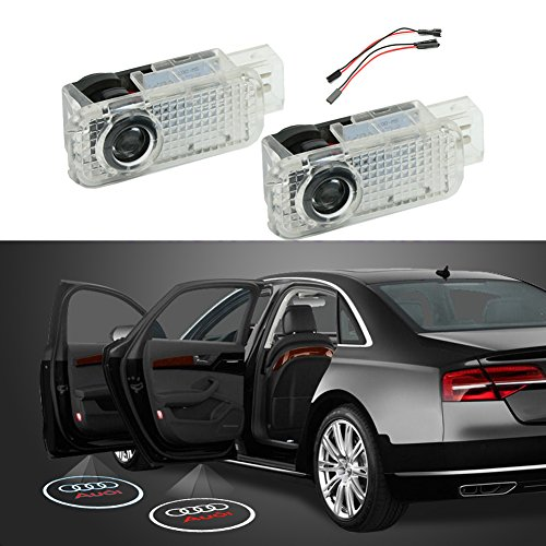 Car Door Logo Ghost Shadow Projector LED Courtesy Light for Audi A3 A4 A5 A6 A7 A8 Allroad Q3 Q7 R8 RS4 RS5 RS6 RS7 S3 S4 S5 S6 S7 (Audi A4 Projector)