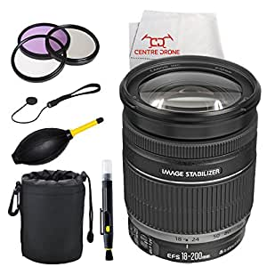 Canon EF-S 18-200mm f/3.5-5.6 IS Standard Zoom Lens for Canon DSLR Cameras (White Box) + Deluxe Accessory Kit