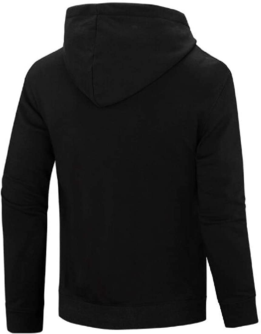 omniscient Men Splicing Solid Color Striped Pullover Long Sleeve Hooded Sweatshirt Tops