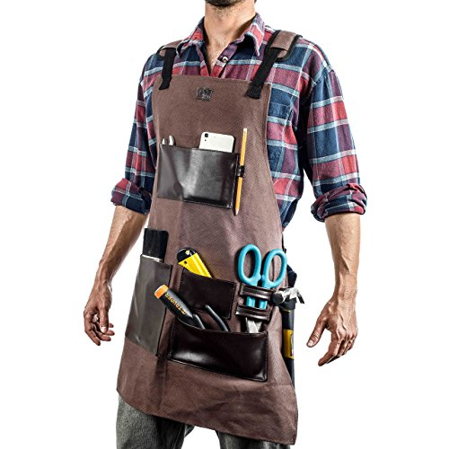EVERPRIDE Waxed Canvas Tool Apron With Leather Pockets & Adjustable Straps | For Carpenters, Chefs, BBQ, Bartenders, Arts & Crafts, Plumbers, Butchers & More | Waterproof & Durable by EVERPRIDE