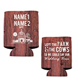 """VictoryStore Can and Beverage Coolers: Neoprene Customizable """"Left The Farm and Cows"""" Wedding Can Coolers - 100pc"""