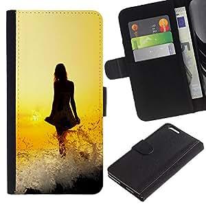 "Apple (5.5 inches!!!) iPhone 6+ Plus , la tarjeta de Crédito Slots PU Funda de cuero Monedero caso cubierta de piel ("" Lady Dress Girl Yellow Fiery Sunset Ocean"")"