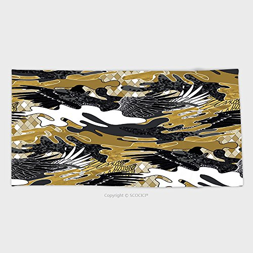 27.5W x 11.8L Inches Custom Cotton Microfiber Ultra Soft Hand Towel Abstract Camouflage Seamless Pattern Trendy Fabric Design In Black White And Golden Colors With 485810
