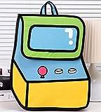 3D Jump Style 2D Drawing from Cartoon Paper Bag Funny Arcade-game Comic 3D Cartoon Schoolbag Backpack Laptop Bag Shoulder Bag 13.8 x 4.0 x 16.2 Inch Blue