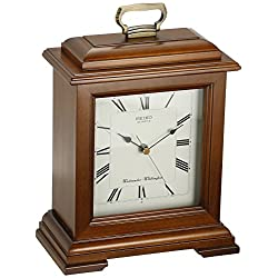 Seiko 12 Cherry Finish Solid Wood Case, Metal Handle with Chime Mantel Clock
