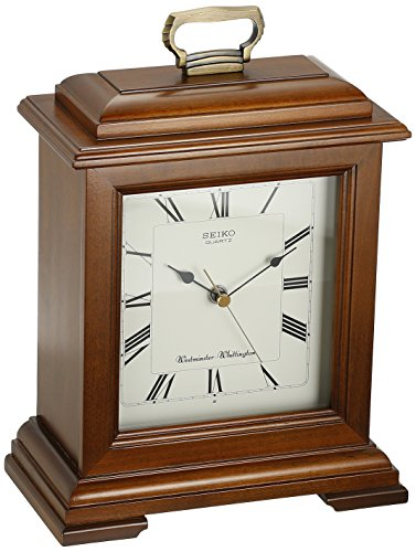 Seiko Mantel Chime Carriage Clock Cherry Finish Solid Wood Case (Staples Glass Desk)