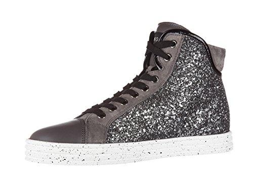 Hogan Rebel zapatos zapatillas de deporte largas mujer en piel nuevo r182 collet