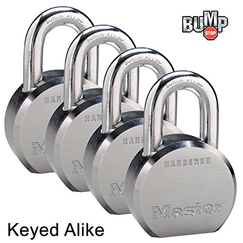 Master Lock - (4) High Security Pro Series Keyed Alike Padlocks 6230NKA-4 w/ BumpStop Technology