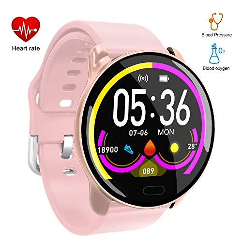 Byoung Activity Tracker with Blood Pressure Monitor, Heart Rate Monitor Fitness Tracker Life Waterproof Smart Bracelet Wristwatch for Android iOS Digital Smart Watch Call SNS SMS Vibration, - Band Screen Touch 2.6