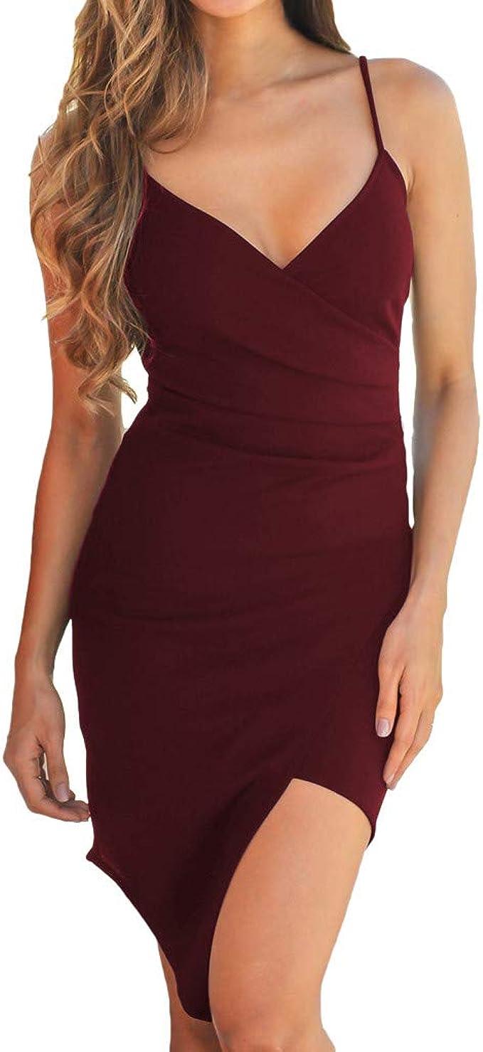 Oksea Ärmelloses unregelmäßiges Kleid Damen Enges Kleid Sommerkleid  Rundhals Ärmellos Kleid Bodycon Unregelmäßig Minikleid