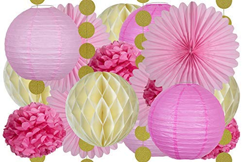 20 Pcs Tissue Paper Party Decorations in Pink, Ivory, and Gold -Includes 4 Fans, 4 Lanterns, 4 Honeycombs, 4 Pom Poms Flowers, and 4 Strings of Dot Garland for Birthday, ()
