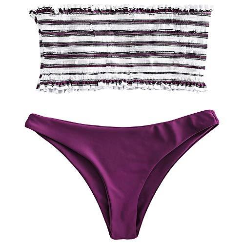 (ZAFUL Women's Strapless Striped Frilled Smocked Two Piece Bandeau Bikini Set (Dark Carnation Pink, L))