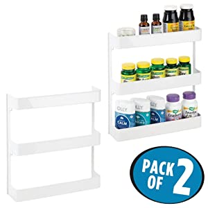 mDesign Plastic Wall Mount, 3 Tier Storage Organizer Shelf to Hold Vitamins, Supplements, Aspirin, Medicine Bottles, Essential Oils, Nail Polish, Cosmetics - Large Capacity, 2 Pack - White