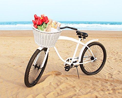 Colorbasket 01570 Adult Front Handlebar Wicker Bike Basket, Leather Straps, White