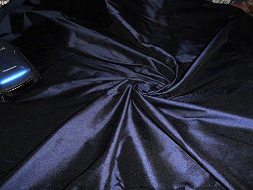 puresilks 100% Pure Silk Dupioni Fabric Navy Blue 54