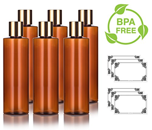Amber PET Plastic (BPA Free) Refillable Cylinder Round Bottle with Gold Disc Cap - 8 oz (6 pack) + Labels
