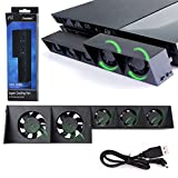 PS4 Cooling Fan, USB External Cooler 5 Fan Turbo Temperature Control Cooling Fans for Sony PlayStation Gaming Console