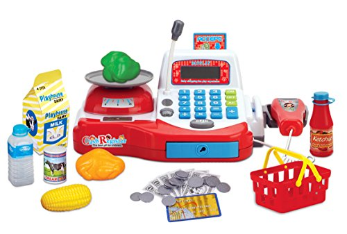 Multi-functional Educational Pretend Play Electronic Toy Cash Register with Microphone, Scanner, Scale, Calculator, Play Money, Credit Card Reader, Shopping Basket and Groceries